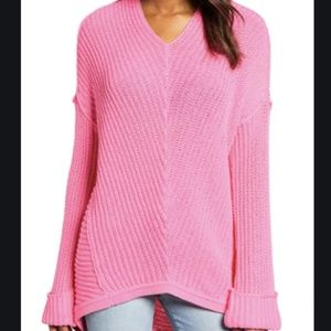 Caslon Pink Sachet Knit Cuffed Sleeve V-Neck NEW